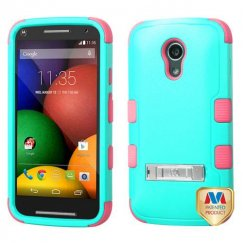 Motorola Moto G 2nd Gen Natural Teal Green/Electric Pink Hybrid Case with Stand