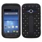 ZTE Concord 2 Black/Black Symbiosis Stand Case with Diamonds