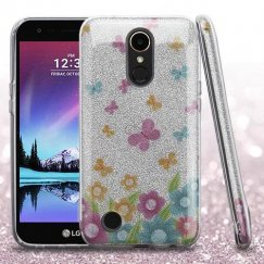 LG K10 Colorful Butterflies Full Glitter Hybrid Case