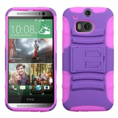 HTC One M8 Purple/Electric Pink Advanced Armor Stand Case