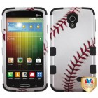 LG Lucid 3 Baseball-Sports Collection/Black Hybrid Phone Protector Cover
