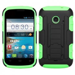 ZTE Prelude 2 / Zinger Black/Electric Green Car Armor Stand Case - Rubberized