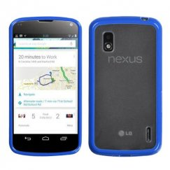 LG Nexus 4 Transparent Clear/Dark Blue Gummy Cover