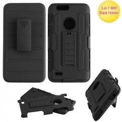 ZTE Blade Z Max / Sequoia Z982 Black/Black Advanced Armor Stand Case Combo with Black Holster