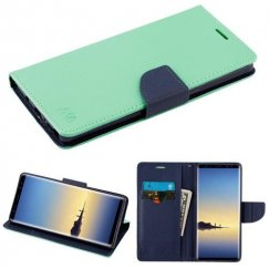 Samsung Galaxy Note 8 Teal Green Pattern/Dark Blue Liner wallet with Card Slot
