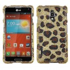 LG Optimus F7 Leopard Skin/Camel Diamante Case