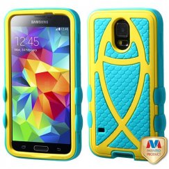 Samsung Galaxy S5 Rubberized Yellow/Tropical Teal Fish Hybrid Case