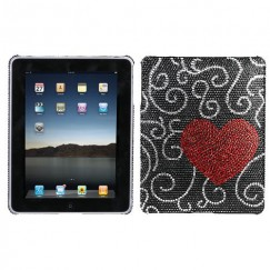 AppleiPad 1st Generation 2010 Curve Heart Diamante Back Case