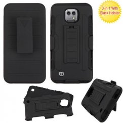 LG X Cam K580 Black/Black Advanced Armor Stand Case Combo with Black Holster