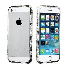 Apple iPhone SE Black/White Diamante Metal Surround Shield