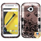 Motorola Moto E 2nd Gen Black Lace Flowers (2D Rose Gold)/Black Hybrid Phone Protector Cover