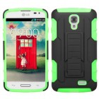 LG F70 Black/Electric Green Car Armor Stand Case - Rubberized