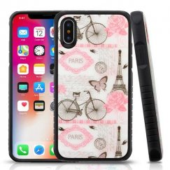 Riding By Eiffel Tower Tempered Glass/Black Fusion Protector Cover