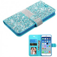 Apple iPhone 6/6s Baby Blue Mini Crystals with Silver Belt Wallet