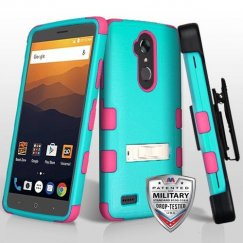 ZTE Blade Max 3 / Max XL Natural Teal Green/Electric Pink Hybrid Case with Stand Military Grade with Black Horizontal Holster