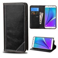 Samsung Galaxy Note 5 Black Genuine Leather Wallet