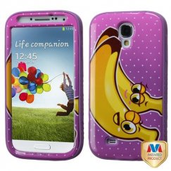 Samsung Galaxy S4 Bannana/Electric Purple Hybrid Case