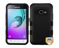 Samsung Galaxy J1 Rubberized Black/Black TUFF Hybrid Phone Protector Cover