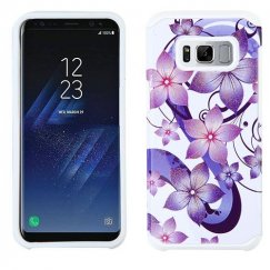 Samsung Galaxy S8 Plus Purple Hibiscus Flower Romance /White Advanced Armor Case