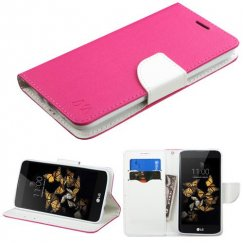 LG K8 / Phoenix 2 Hot Pink Pattern/White Liner wallet with Card Slot