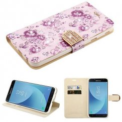 Samsung Galaxy J7 Fresh Purple Flowers Diamante Wallet(with Diamante Belt)(DM103) -WP