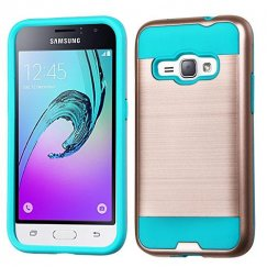 Samsung Galaxy J1 Rose Gold/Tropical Teal Brushed Hybrid Case