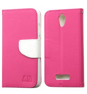 ZTE Obsidian Hot Pink Pattern/White Liner wallet (with card slot)