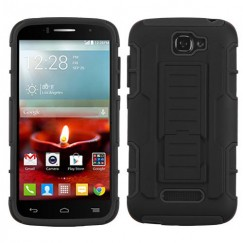 Alcatel One Touch Fierce 2 Black/Black Car Armor Stand Case - Rubberized
