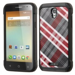 Alcatel One Touch Elevate Maroon/Gray Diagonal Plaid/Black Astronoot Case
