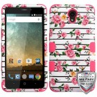ZTE Avid Plus / Maven 2 Pink Fresh Roses/Electric Pink Hybrid Case - Military-Grade Certified