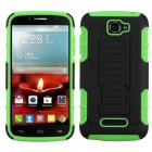 Alcatel One Touch Fierce 2 Black/Electric Green Car Armor Stand Protector Cover (Rubberized)