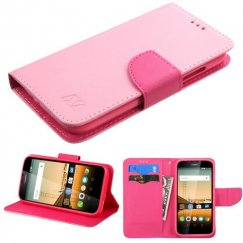 Huawei Union Y538 Pink Pattern/Hot Pink Liner Wallet with Card Slot