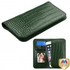 Universal Forest Green Crocodile-Embossed Genuine Leather Wallet Pouch