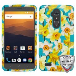 ZTE Blade Max 3 / Max XL Spring Daffodils/Tropical Teal Hybrid Case Military Grade