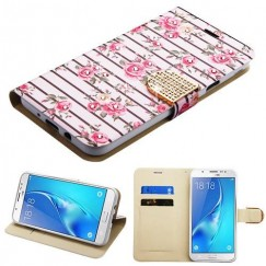 Samsung Galaxy J7 Pink Fresh Roses Diamante Wallet(with Diamante Belt)(DM105) -WP