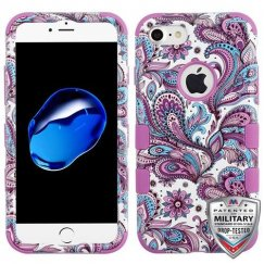Purple European Flowers/Electric Purple Hybrid Phone Protector Cover [Military-Grade Certified]
