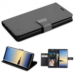 Samsung Galaxy Note 8 Black/Black PU Leather Wallet with extra card slots