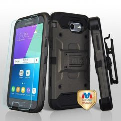 Samsung Galaxy J3 Dark Grey/Black 3-in-1 Kinetic Hybrid Case Combo with Black Holster and Tempered Glass Screen Protector