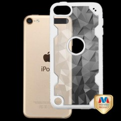 Apple iPod Touch (6th Generation) Transparent Clear Polygon/Solid White Challenger Hybrid Case