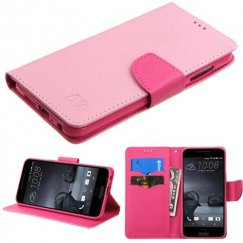 HTC One A9 Pink Pattern/Hot Pink Liner Wallet with Card Slot