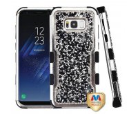 Samsung Galaxy S8 Plus Silver Plating Frame?? Mini Crystals Back/Black Vivid Hybrid Protector Cover
