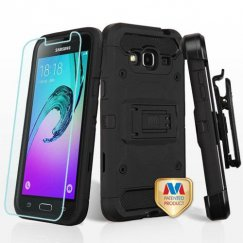 Samsung Galaxy J3 Black/Black 3-in-1 Case Combo with Black Holster with Tempered Glass Screen Protector