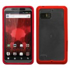 Motorola Droid Bionic Transparent Clear/Solid Red Gummy Cover