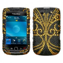 Blackberry 9800 Torch Golden Butterfly Diamante Case