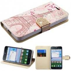 Alcatel Stellar / Tru 5065 Eiffel Tower Diamante Wallet with Diamante Belt