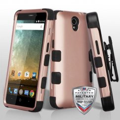 ZTE Prestige 2 Rose Gold/Black Hybrid Case Military Grade with Black Horizontal Holster