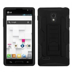 LG Optimus L9 Black/Black Car Armor Stand Case - Rubberized