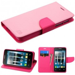 Alcatel Fierce 4 / Pop 4 Plus / Allura Pink Pattern/Hot Pink Liner Wallet with Card Slot