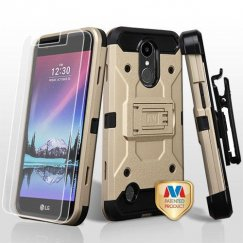 LG K10 Gold/Black 3-in-1 Kinetic Hybrid Case Combo with Black Holster and Tempered Glass Screen Protector