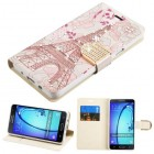 Samsung Galaxy On5 Eiffel Tower Diamante Wallet with Diamante Belt